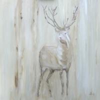 Acrylbild, Hirsch im Wald, Wandbild mit Acrylfarben, 80 x 80 cm
