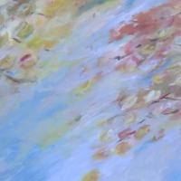 Acrylbild, Wandbild mit bunten, abstrakten Blättern und Blüten im Wind, 100 x 70 cm