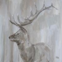 Acrylbild mit Hirsch, Stolzer Hirsch, 80 x 80 cm