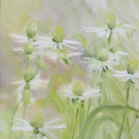 Blumenbild, Acryl auf Leinwand, Weiße Blüten, helle Farben, Weiß, Hellgrün, Format: 80 x 80 cm