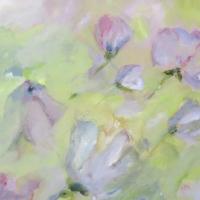 Blumenbild, Acryl auf Leinwand, Blüten in Pastelltönen, helle Farben, Weiß, Hellgrün,  Rosa, Flieder, Format: 80 x 80 cm