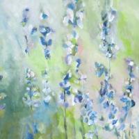 Blumenbild, Acryl auf Leinwand, Blüten in Pastelltönen, Rittersporn, helle Farben, Weiß, Hellgrün, Blau, Format: 80 x 80 cm