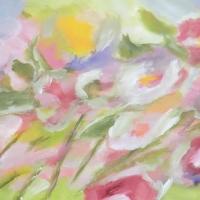 Blumenbild, Acryl auf Leinwand, Blüten im Wind, helle Farben, Pastelltöne Format: 120 x 60 cm, verkauft