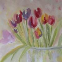 Blumenbild, Acryl auf Leinwand, Tulpen in der Vase, helle Farben, Pastelltöne Format: 120 x 80 cm