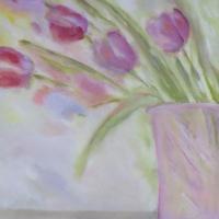 Blumenbild, Acryl auf Leinwand, Blüten, helle Farben, Pastelltöne Format: 120 x 80 cm, verkauft