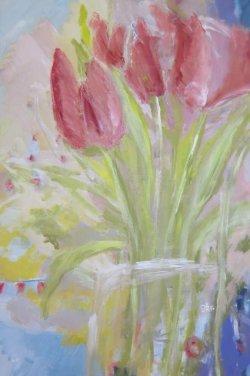 Tulpenstrauß, starke Farben, Blüten, Rot, Grün, abstrakter Hintergrund, Acrylbild auf Leinwand, Format: 120 x 80 cm