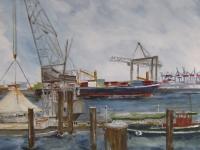 Acryl auf Leinwand, Hamburger Hafen, Blick vom Museumshafen, Format 50 x 60 cm