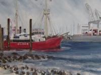 Acryl auf Leinwand, Elbe 3 im Hamburger Hafen, Blick vom Elbstrand, Format 50 x 60 cm