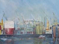 Acryl auf Leinwand, Hamburger Hafen, Docks, Schiffe im Hafen, Format 100 x 80 cm VERKAUFT