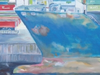 Acryl auf Leinwand, Hafenmotiv, Hamburger Hafen, Schiff im Dock, Schiffsbug, Format 80 x 80 cm