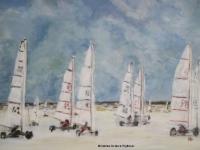 Acrylbild, Acryl auf Leinwand, Format 100 x 70 cm, Strandsegler in St. Peter-Ording, Strand, VERKAUFT