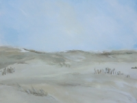 Acrylbild, Acryl auf Leinwand, Format 50 x 50 cm, Dünen, Blick auf das Meer, VERKAUFT