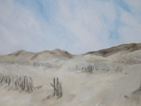 Duenenblick 1, Dünen und Himmel mit Hölzern, Sylt, Format: 100 X 70 cm, VERKAUFT