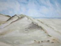 Ich lieg im Sand, Dünenbild mit Meer, Format: 150 x 100 cm, VERKAUFT