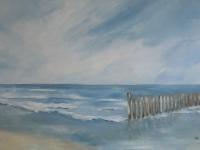 Brandung, Meer, Hölzer, Strand, Wellen und Himmel, klare Farben, Blautöne, Format: 150 x 100 cm, VERKAUFT