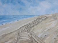 Acrylbild, Original Acryl auf Leinwand, Holztreppe, Sylt, Meer, Strand, Format: 100 x 70 cm, VERKAUFT