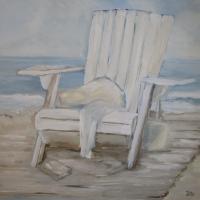 Acrylbild, Wandbild mit Acrylfarben, Beachchair, Meer, Weg und Dünen, Entspannung, 80 x 80 cm
