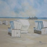 Acrylbild, Original Acryl auf Leinwand, Weiße Strandkörbe, Meer, Strand, 80 x 80 cm, VERKAUFT