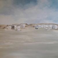 Acrylbild, Wandbild, Strandkörbe in den Dünen, 100 x 70 cm