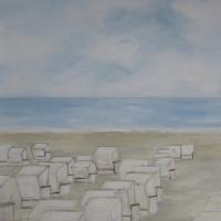 Wandbild, Acrylbild, Strandkörbe am Meer, Strand, 70 x 100 cm