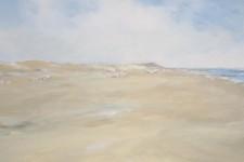 Langer Sandstrand mit Strandkoerben, 100 x 50 cm, 1