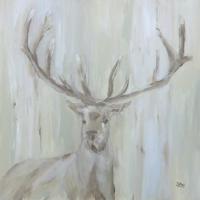Acrylbild mit Hirschmotiv, Natur, Herbst, Braun- und Beigetöne