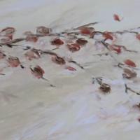 Acrylbild im länglichen Format, Zweig mit Blättern in Rottönen, 100 x 50 cm