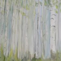 Acrylbild, Wabdbild mit Birken, Birkenwald in hellen, pastellen Farben, 100 x 70 cm
