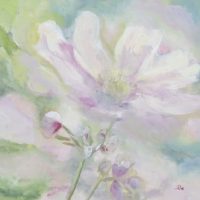 Blumenbild, Acryl auf Leinwand, Helle große Blüte in Pastelltönen, helle Farben, Weiß, Hellgrün, Rosa, Flieder, Format: 80 x 80 cm