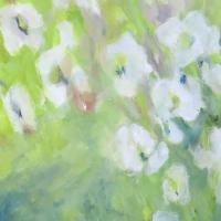Blumenbild, Acryl auf Leinwand, Blüten in Pastelltönen, helle Farben, Weiß, Hellgrün, Blau, Format: 80 x 80 cm