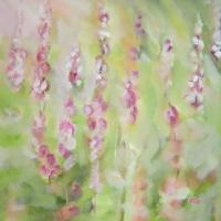 Blumenbild, Acryl auf Leinwand,Sommer, Garten, Gartenblumen, Rittersporn, helle Farben, Grün, Rot, Pink, Weiß, Format: 80 x 80 cm