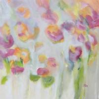 Blumenbild, Acryl auf Leinwand, Sommer, Garten, Gartenblumen, helle Farben, Grün, Rot, Pink, Weiß, Orange Format: 80 x 80 cm