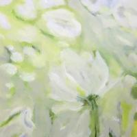 Blumenbild, Acryl auf Leinwand, Weiße Blüte, helle Farben, Weiß, Hellgrün, Format: 80 x 80 cm