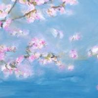 Blütenbild, Acryl auf Leinwand, Kirschblüten über dem Wasser, Blau, Rosa, Format: 70 x 50 cm