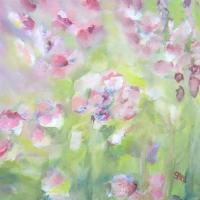 Leichtes Blumenbild, helle Farben, Rot, Rosa, Grün, Blau, klare Farben, Blumen im Wind, Format: 50 x 50 cm