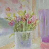 Blumenbild, Acryl auf Leinwand, Tulpen in der Vase , helle Farben, Pastelltöne Format: 120 x 80 cm