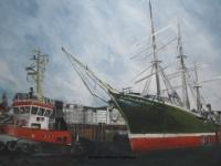 Acryl auf Leinwand, klare Farben, Hafen Hamburg, Rickmer Rickmers mit Schlepper, Format: 100 x 70 cm