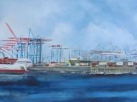 Acryl auf Leinwand, Hamburger Hafen, Docks von Hamburg, Hafenkräne, Format 120 x 60 cm, VERKAUFT