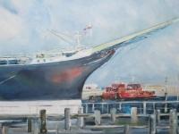 Acryl auf Leinwand, Hafenmotiv, Format 120 x 80 cm, Passat an der Ostsee, Travemünde, klare Blautöne