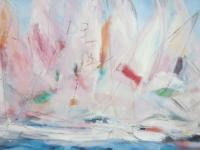 Acryl auf Leinwand, Abstraktes Segelbild mit sichtbaren Linien, Weiße Boote mit großen Segeln, Format 120 x 60 cm