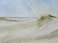 Acrylbild, Acryl auf Leinwand, Format 150 x 100 cm, Dünen, Blick auf das Meer, Sonniges Wetter, Sonne in den Dünen, VERKAUFT