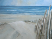 Acrylbild, Acryl auf Leinwand, Format 80 x 80 cm, Dünen, Blick auf das Meer, Strand mit Hölzern, 480 EURO