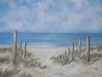 Acrylbild, Acryl auf Leinwand, Format 100 x 70 cm, Dünen, Blick auf das Meer, Der Weg zum Strand, VERKAUFT