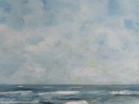 Acrylbild, Acryl auf Leinwand, Format 80 x 80 cm, Meeresbrandung, Meer und Wolken, Wellen, Blau, weiße Wellenkämme, Schaumkronen VERKAUFT