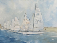 Segeltag, Segelboote am Meer, 100 x 70 cm, VERKAUFT