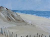 Dünen 2 mit Hölzern, Strand, Meer, Klippen, Format: 50 x 50 cm, VERKAUFT