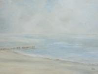 Acrylbild, Original Acryl auf Leinwand, Meer, Pfähle, Ruhiges Wasser, Strand, Meer, Format: 100 x 70 cm, VERKAUFT