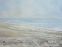 Acrylbild, Original Acryl auf Leinwand, Steg, Meer, Nordsee, helle Farbtöne, viel Weiß, Format: 100 x 70 cm, VERKAUFT