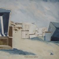 Acrylbild, Strandkörbe mit gestreiftem Strandkorb im Vordergrund, Dünnlandschaft, klare Farben mit Blau, Weiß und Sand, Format: 50 x 50 cm, VERKAUFT