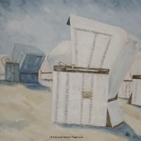 Acrylbild, Acryl auf Leinwand, Großer weißer Strandkorb mit blauem Strandkorb im Hintergrund, Klare Farben, Format: 50 x 50 cm, VERKAUFT